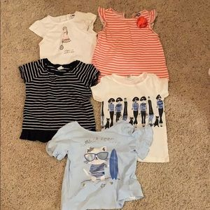 5 tees  sz 3 Toddler CrewCuts Janie & Jack Gap